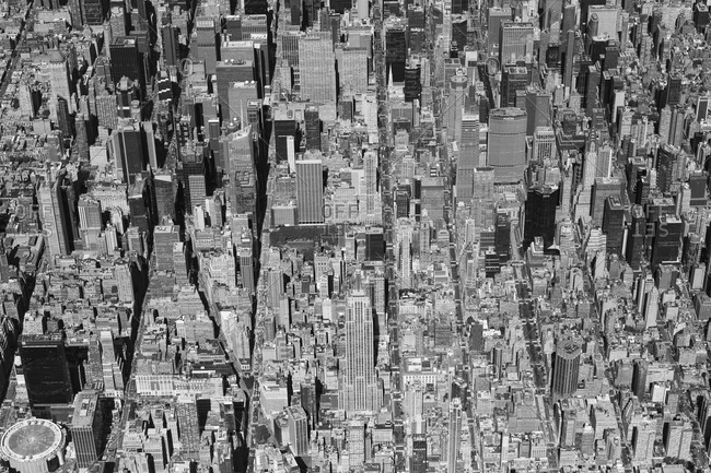 New York, New York - September 19, 2020: An aerial view of midtown Manhattan including Madison Square Garden.