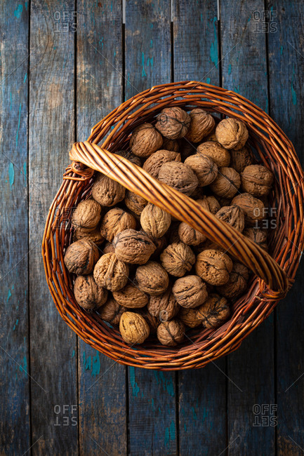 Full basket of walnuts, top view