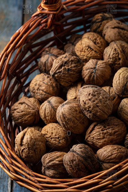 Close up of full basket of walnuts