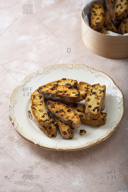 Close up of dried fruit biscotti on plate