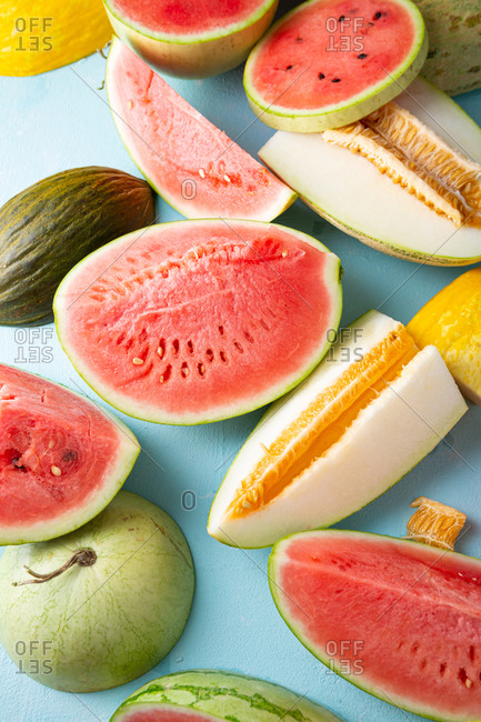Close up of melons and watermelon slices and chunks