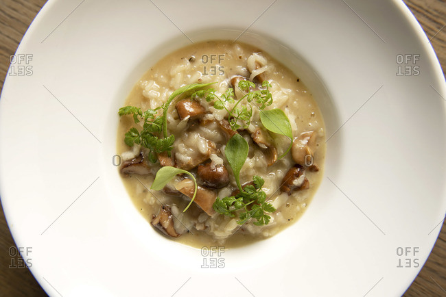 Mushroom risotto in a large bowl, top down