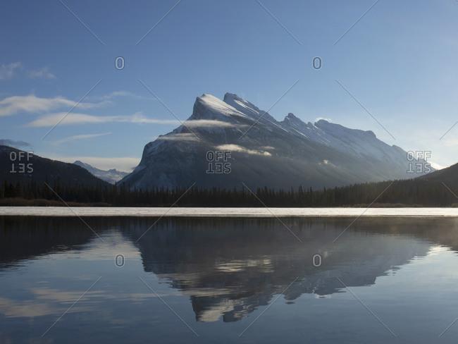 Mount Rundle reflecting in Vermillion Lake, Banff National Park, Alberta, Canada