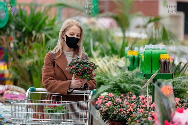 Blonde woman in face mask and coat holds potted plant in garden store