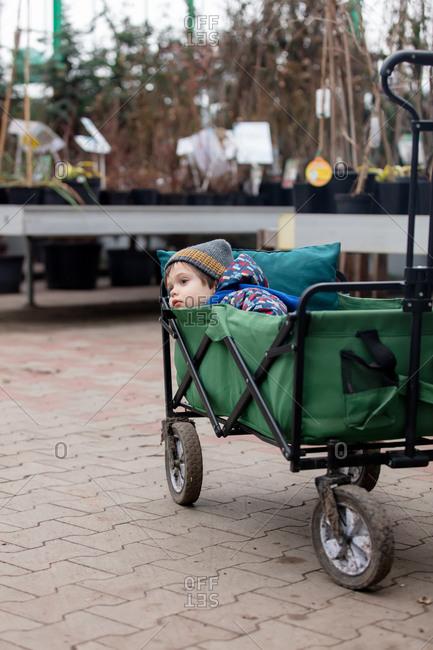 Sleepy boy lying in a wagon in a garden market