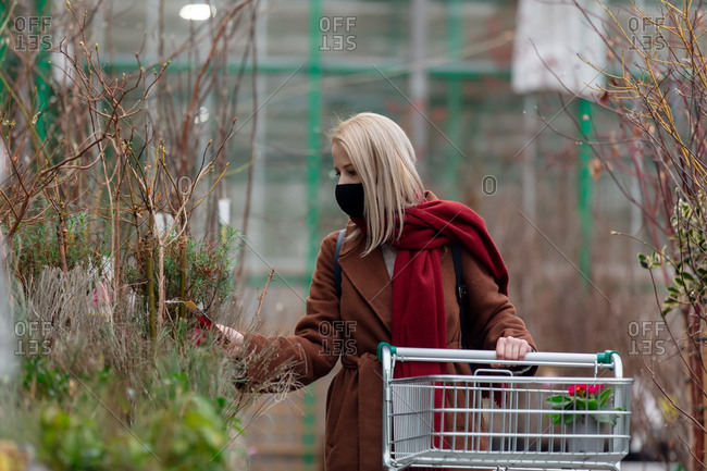 Blonde woman in face mask and coat examines trees in a garden store