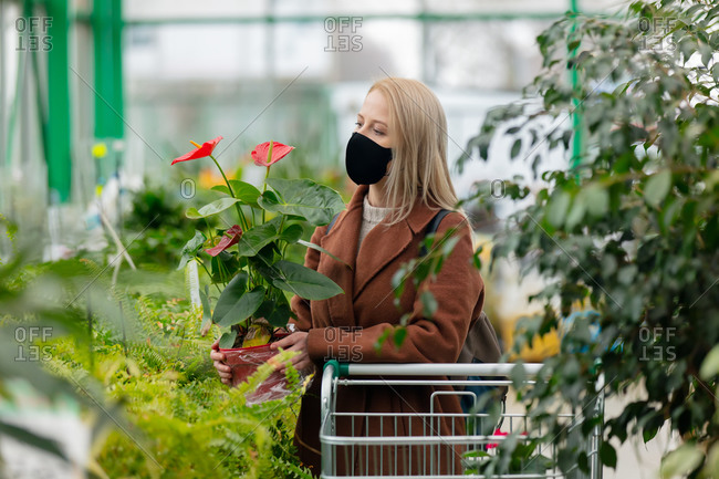 Blonde woman in face mask and coat examines plant in garden store