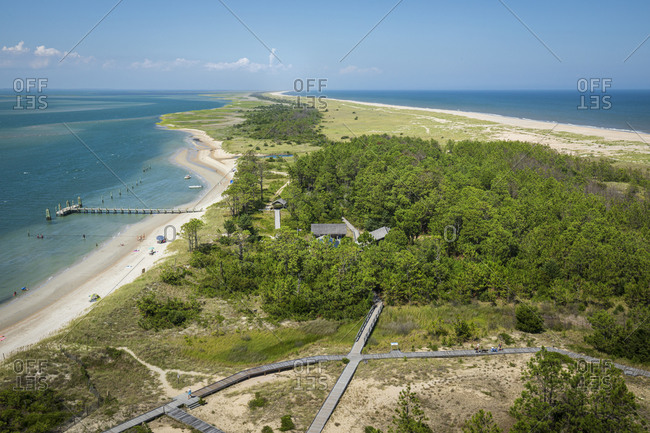 Looking out from the Cape Lookout Lighthouse on the Cape Lookout National Seashore in North Carolina