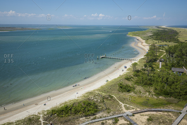 Looking out over the Atlantic shoreline from the Cape Lookout Lighthouse on the Cape Lookout National Seashore in North Carolina