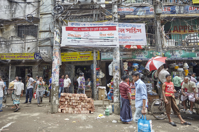 Dhaka, Bangladesh - April 28, 2013: Extremely poor and rundown area in old Dhaka