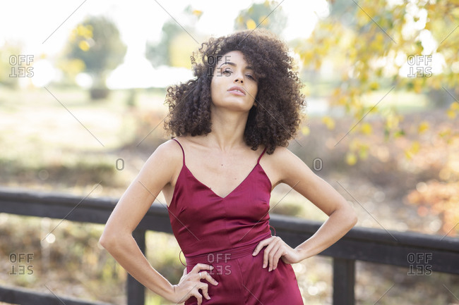 Charming African American female model with Afro hairstyle standing in autumn park and confidently looking at camera