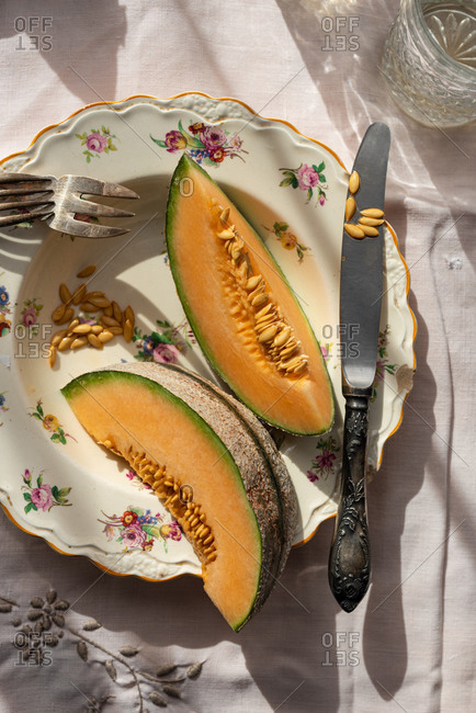 Top view of slices of sweet melon served in plate on table in countryside on sunny day