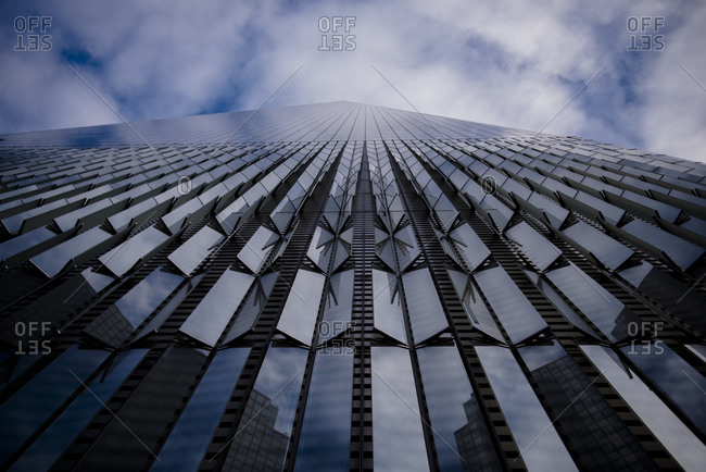 New york, ny, united states - november 14, 2017: opened windows are seen on the one world trade center.