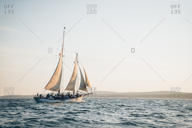 Camden, me, united states - august 12, 2019: a schooner sailing in the west penobscot bay, maine during late day