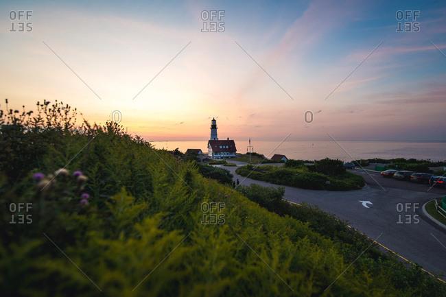 Sunrise at the portland head light lighthouse in maine