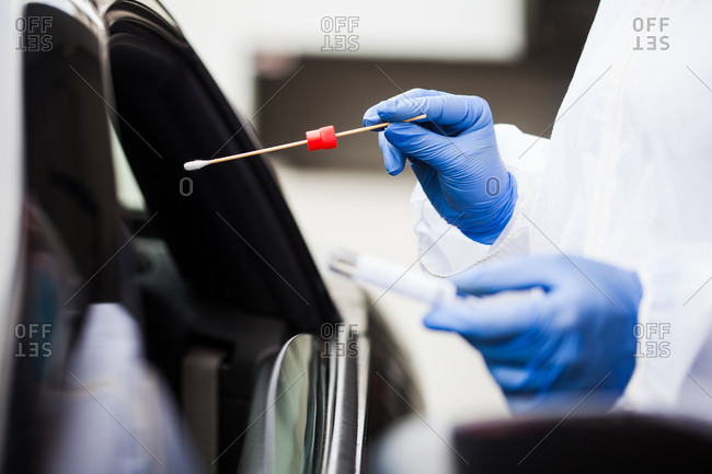 Coronavirus drive-thru pcr test procedure