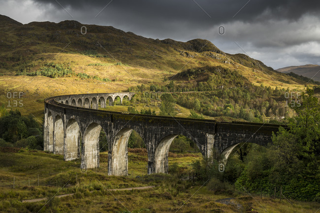Glenfinnan viaduct in scotland, uk
