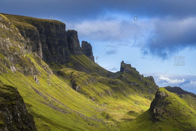 Rock pinnacles, quiraing, isle of skye, scotland, uk