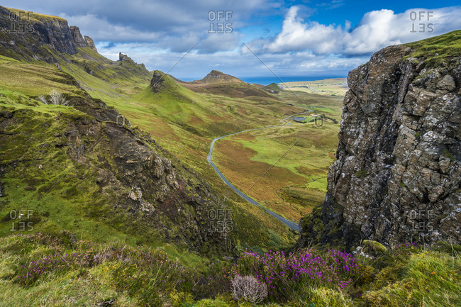 High angle view of mountain road at quiraing, isle of skye, scotland, uk