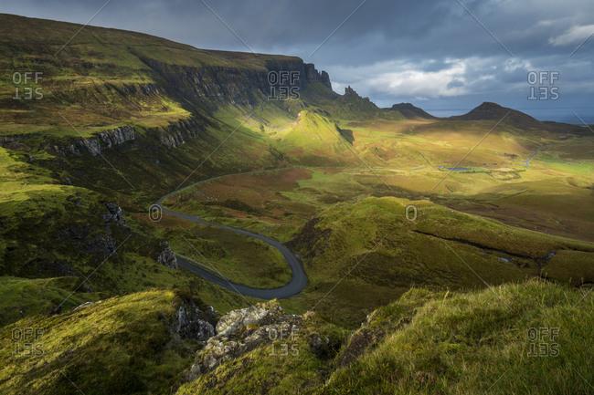 Dramatic landscape and rock pinnacles, quiraing, isle of skye, scotlan