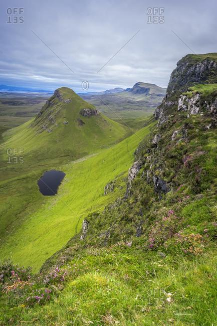 Idyllic shot of small loch and landscape, quiraing, isle of skye, scotland, uk