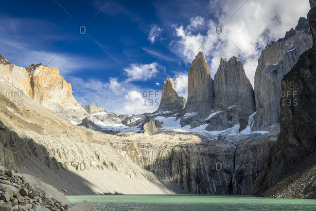 Las torres viewpoint against sky, torres del paine national park, patagonia, chile