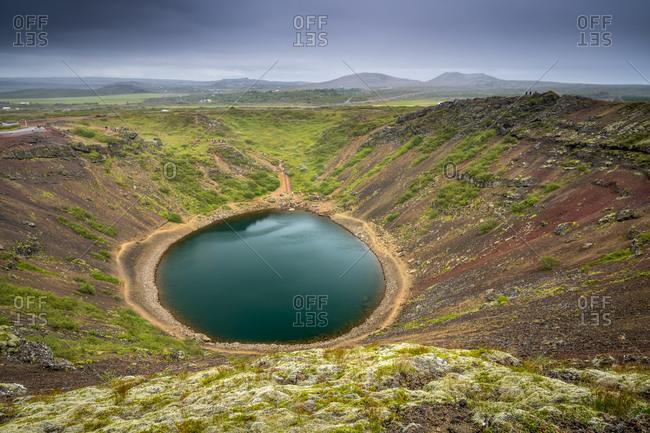 Idyllic shot of kerid crater lake, grimsnes, south iceland, iceland