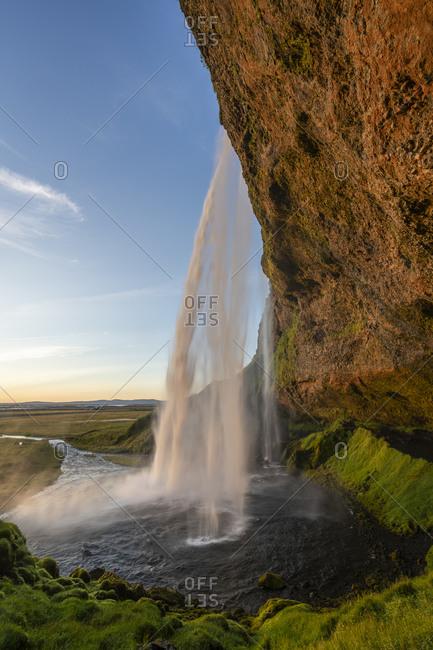 Idyllic shot of seljalandsfoss waterfall, south iceland