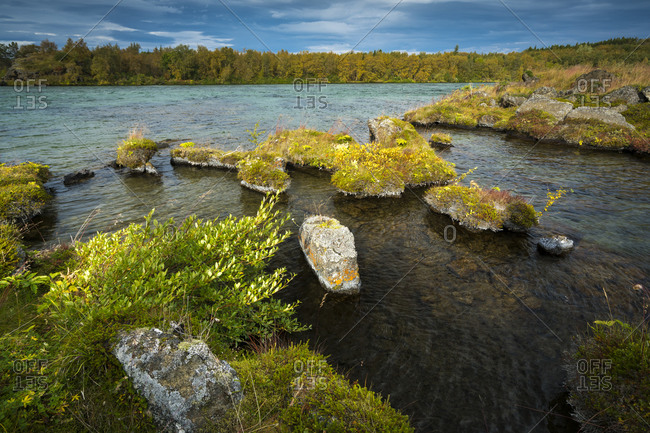 Scenic view of myvatn lake during autumn, northern iceland