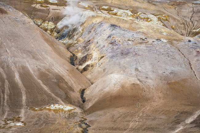 Detail shot of hills in geothermal area of namafjall hverir, northern iceland