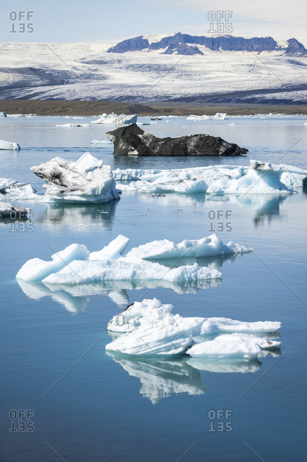 View of icebergs floating on jokulsarlon glacier lagoon, iceland