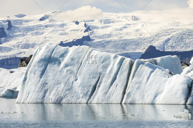 View of large icebergs floating on jokulsarlon glacier lagoon, iceland