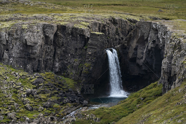Idyllic view of folaldafoss waterfall, eastern region, iceland