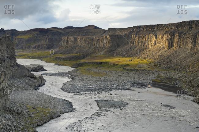 Idyllic view of canyon of jokulsa a fjollum river near dettifoss, northern iceland