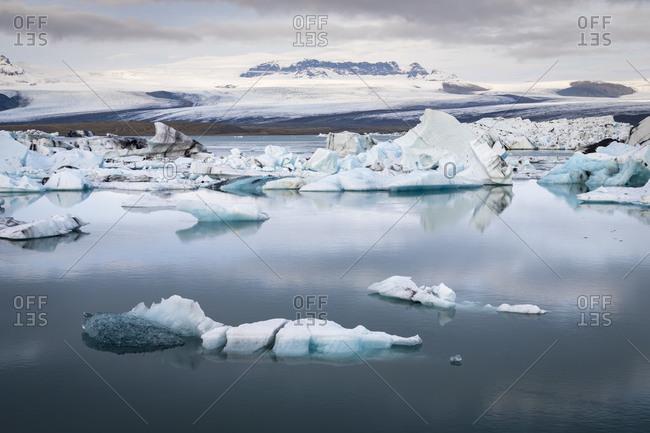 View of icebergs at jokulsarlon glacier lagoon, iceland