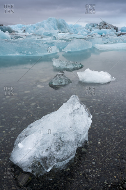 Large chunk of ice at jokulsarlon glacier lagoon, iceland