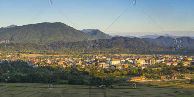 Panoramic view of vang vieng and mountain range against sky, laos