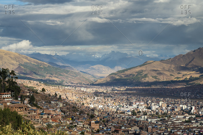 Scenic view of cusco city seen from sacsayhuaman, peru