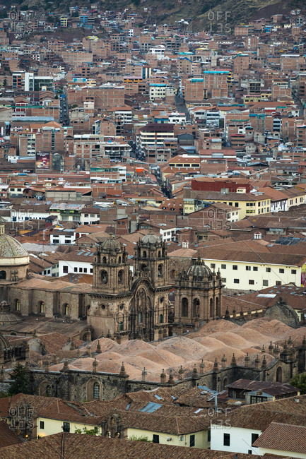Aerial view of church of the society of jesus and cusco cathedral, cusco, peru