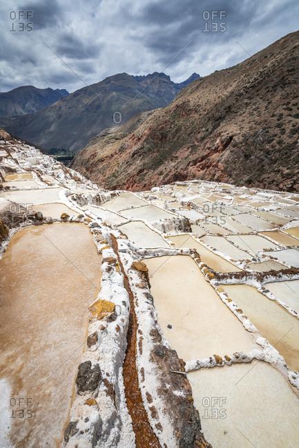 Scenic view of salineras de maras, sacred valley, peru