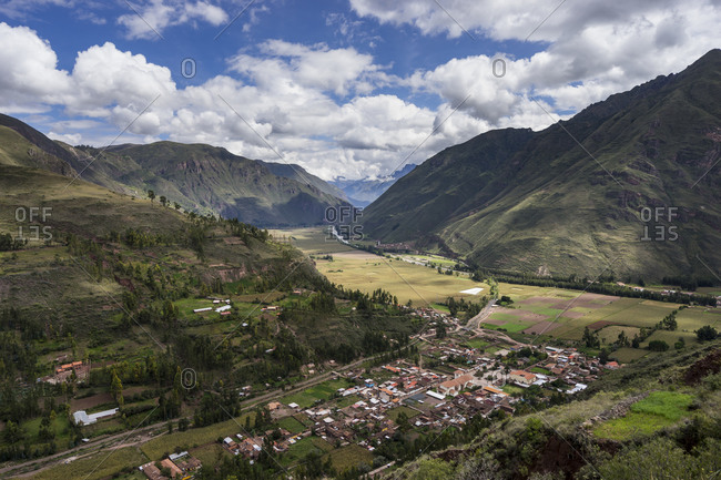 Scenic view of sacred valley against sky, cusco, peru