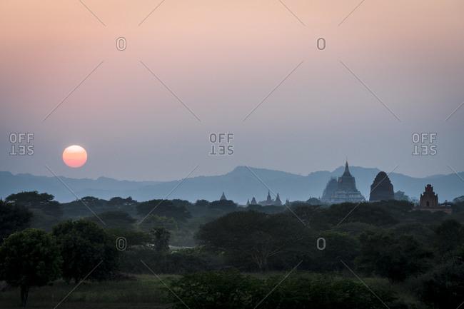 Pagodas of bagan against sky during sunset, unesco, bagan, myanmar