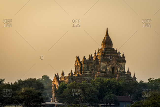 Pagoda against clear sky during sunrise, unesco, bagan, myanmar