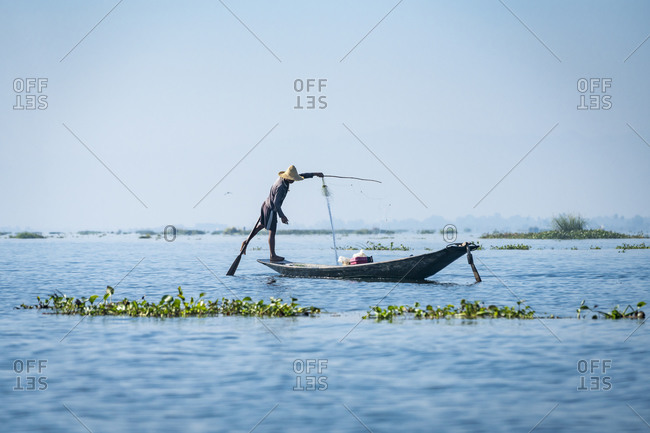 Nyaungshwe, shan, myanmar (burma) - january 20, 2018: fisherman using fishing net on boat, lake inle, nyaungshwe, myanmar
