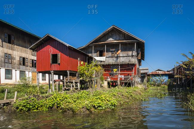 Stilt house at lake inle, myanmar