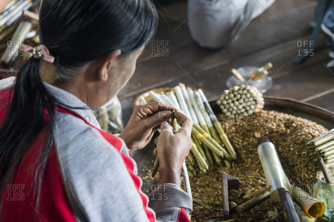 Nyaungshwe, shan, myanmar (burma) - january 20, 2018: woman making burmese cigars at cheroot cigar making workshop, lake inle, myanmar
