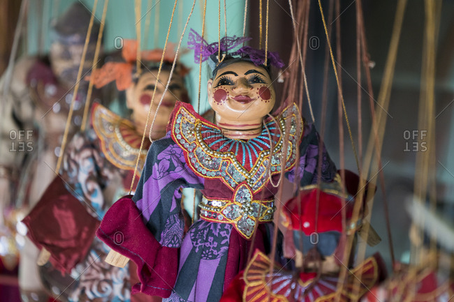 Detail shot of burmese puppets used in theater, lake inle, myanmar