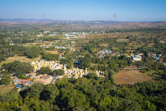 Aerial view of pindaya town and yan aung myin - htu par yone pagoda, pindaya, myanmar