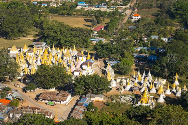Aerial view of yan aung myin - htu par yone pagoda, pindaya, myanmar