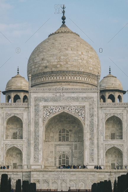 Taj mahal from the distance where tourist can be seen enjoying its magnificent, agra,